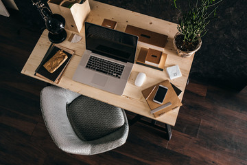 Modern Office With a Wooden Desk