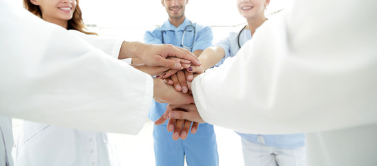background image of a successful group of doctors on a white background