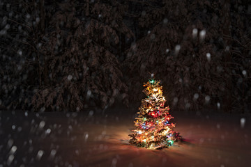 Snow Falling on Christmas Tree