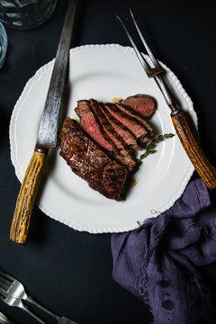 Carved beef rump.