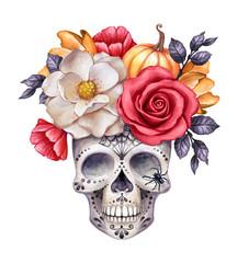 watercolor illustration, Halloween floral skull, fall flowers, autumn pumpkin, dia de los muertos, festive clip art isolated on white background