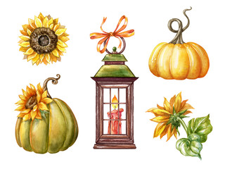 watercolor countryside rustic elements, autumn pumpkin set,sunflowers, lantern,  thanksgiving clip art set