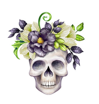 watercolor illustration, Halloween floral skull, black flowers, autumn pumpkin, festive clip art isolated on white background