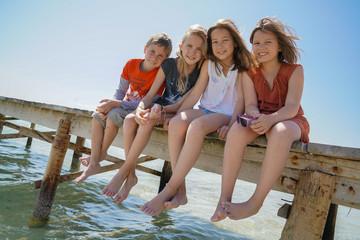eau, enfants, vacances