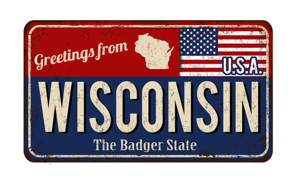 Greetings from Wisconsin  vintage rusty metal sign