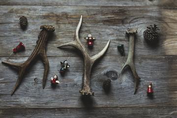 Deer antlers and Christmas ornaments