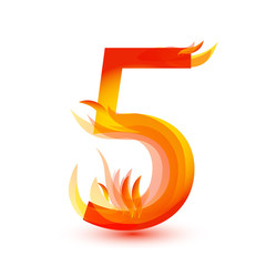 Number 5 in fire flame icon vector