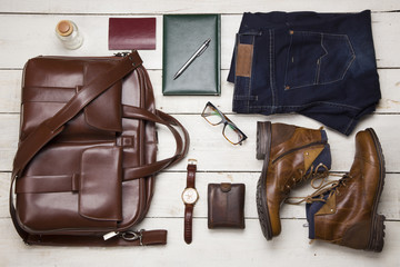 Set of men's clothing and accessories. Hipster concept