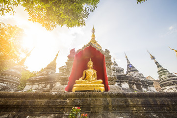 Stunning view of a Buddha statue in one of the many Temples of Bangkok, Thailand.