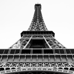Black and White Vintage Film Medium Format Photograph of the Eiffel Tower Paris France