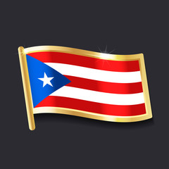 flag of  Puerto Rico in the form of badge, flat image