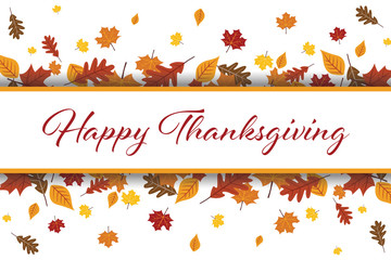 Happy Thanksgiving Leaves Vector Illustration 1