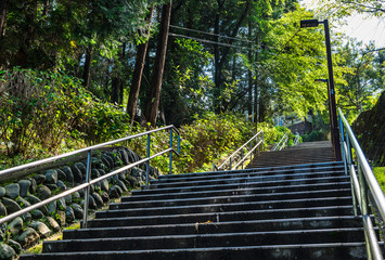 住宅街の長い階段