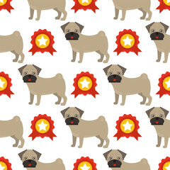 Dog breed french bulldog adorable doggy face pet animal seamless pattern background puppy vector illustration.