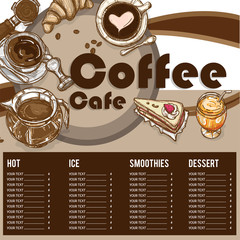 menu coffee shop restaurant template design hand drawing graphic