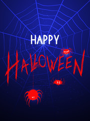 Vector illustration with spideres and web on the night background with text.