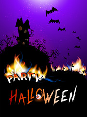 Vector Halloween illustration with burning inscription PARTY, castle and text Party Halloween.