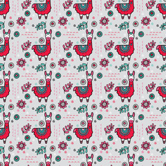 Cute llama seamless pattern ideal for a background for newborn or birthday celebrations, invitations and parties on a grey background