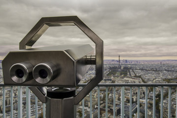 Skyline of Paris France With Eiffel Tower and Telescope