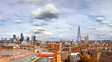 A high angle view of London from the South Bank in Autumn