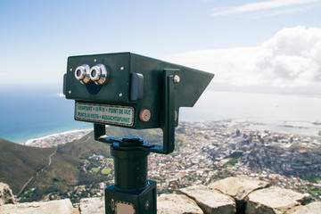Tourist telescope overlooking the city of Cape Town - Table Mountain, Cape Town, South Africa