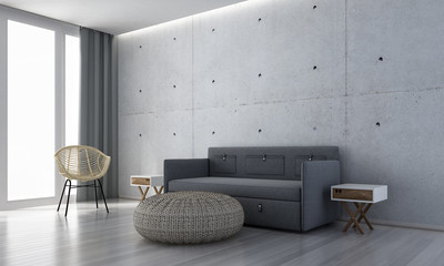 The interior design of modern lounge chairs and living room and concrete wall texture