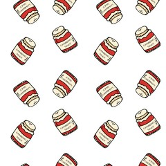 Seamless pattern with hand drawn doodle Thanksgiving icon Cranberry sauce in jar isolated on white. Vector illustration. Cartoon celebration element: kitchen glass bottle, berry, fruits, juice, jam