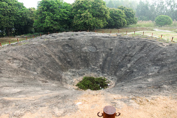The bomb crater at A1 Hill, Dien Bien Phu, VIETNAM, which was an important position during the Battle of Dien Bien Phu