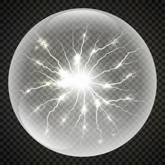Vector ball lightning or electricity blast storm. flash light