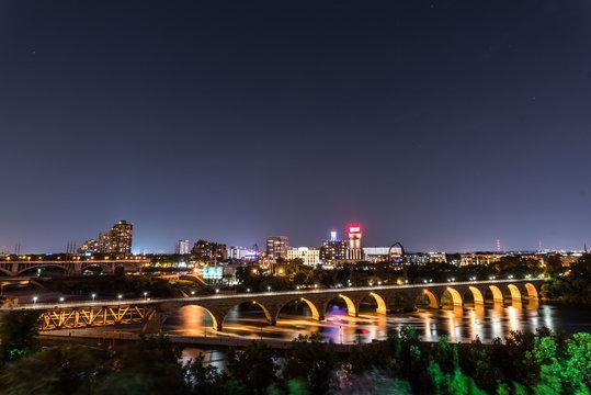 Stone Arch Bridge in Minneapolis at Night