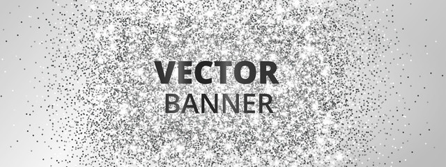 Banner with silver glitter explosion. Sparkles on light background, vector dust.