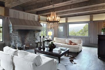 Rustic living room in luxury custom built home in California