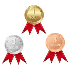 Gold, silver and bronze medals isolated on white background.  Trophy icon vector.