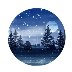 Winter watercolor landscape with moon, forest and snow