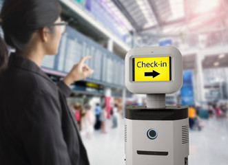 assistant robot in airport