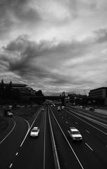 Freeway Cloudy Black and White