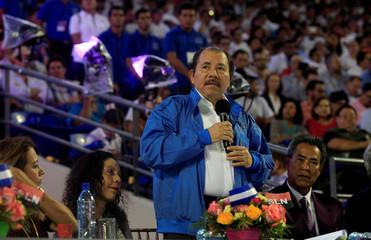Nicaragua's President Daniel Ortega speaks during the inauguration of the new baseball stadium  Dennis Martinez in Managua