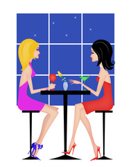 Two Girlfriends Having Drinks