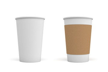 3d rendering of two open white coffee cups, one with a carton sleeve on and one empty.