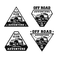 Set Off Road Car 4x4 Vehicle Event, Show, Festival, Club Extreme Extreme Forest Expedition Adventure Retro Vintage Classic Style Logo Template, Badge, Emblem, Sticker, Sign, Poster, Stamp, Label, Icon