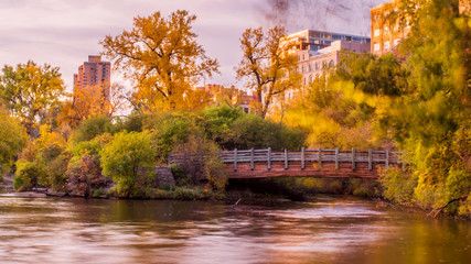 Beautiful autumn scene along Mississippi River