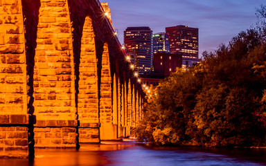 Stone Arch Bridge under autumn night