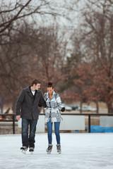 Skating: Couple Having Fun Skating Date