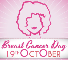 Young Woman with Greeting Ribbon to Celebrate Breast Cancer Day, Vector Illustration