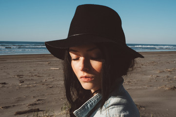 Portrait of a Hip Young Woman on the Beach