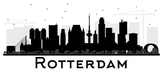 Rotterdam Netherlands skyline black and white silhouette.