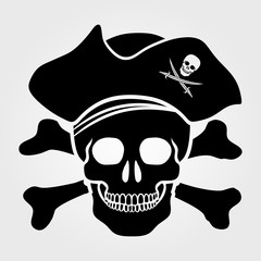 Jolly Roger icon isolated on white background. Skull with Captain Pirate Hat and Cross Bones.