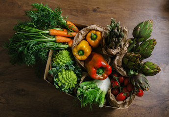 Mixed vegetables in a basket