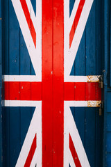 United Kingdom flag painted on a wooden door