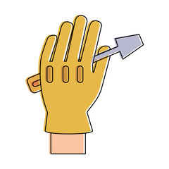 screwdriver tool held by hand with glove icon image vector illustration design